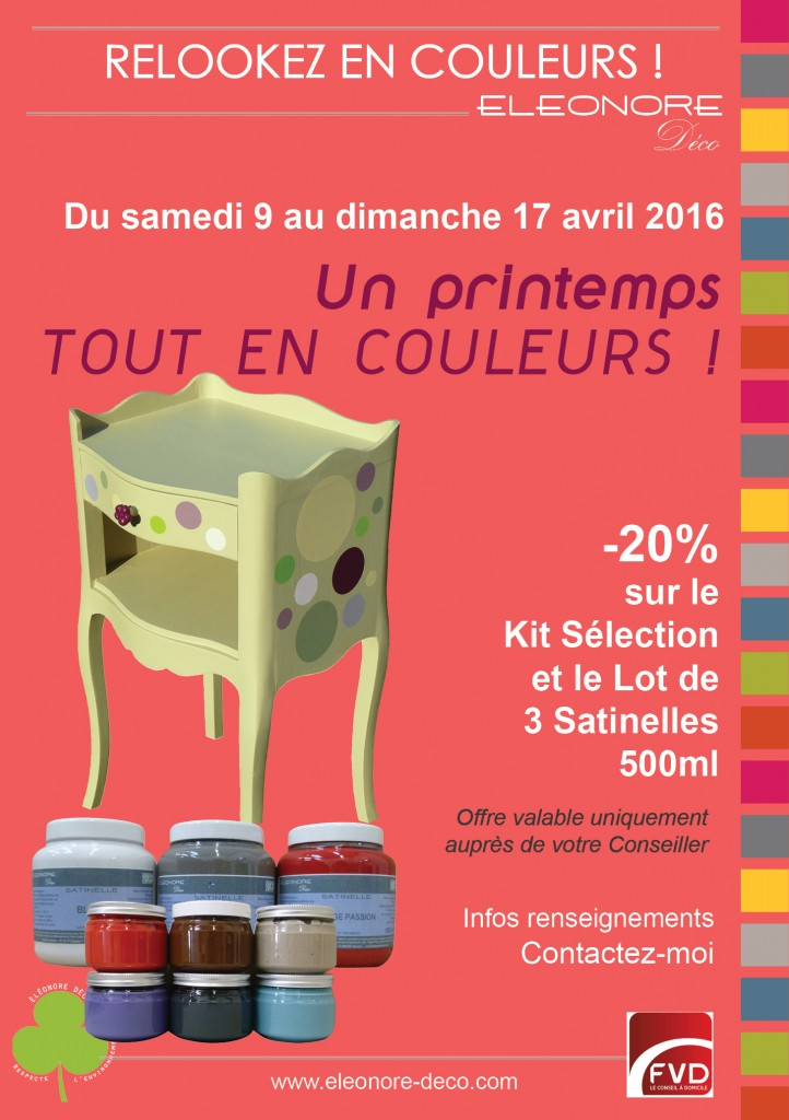 Un printemps tout en couleurs avec Eléonore, nouvelles gammes de couleurs printanières en 2016.